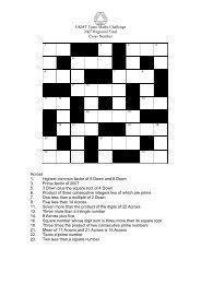 UKMT Team Maths Challenge 2007 Regional Final Cross Number ...