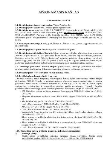 sprendinių aiškinamasis r - Šilutės rajono savivaldybė