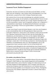 Lausanner Forum: Soziales Engagement - Evangelische ...