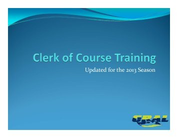 Clerk of Course Training - GRAL