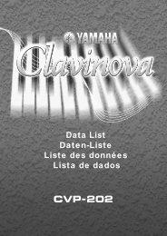 Data List Daten-Liste Liste des données Lista de dados - Yamaha
