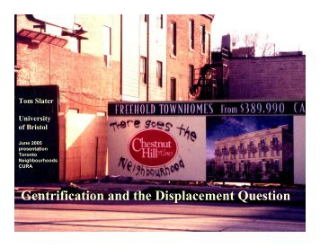 Gentrification and the Displacement Question - Centre for Urban and ...