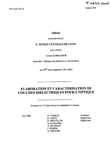 Elaboration et caractérisation de couches diélectriques pour l'optique