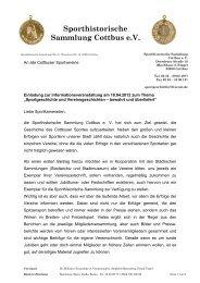 Sporthistorische Sammlung Cottbus e.V. - Stadtsportbund Cottbus eV