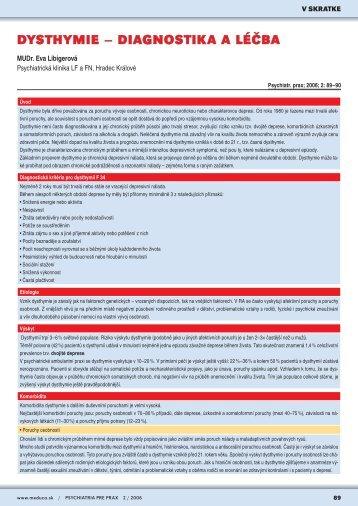 DYSTHYMIE – DIAGNOSTIKA A LÉČBA - Solen