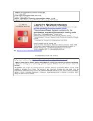 Cognitive Neuropsychology - Center for the Neural Basis of ...