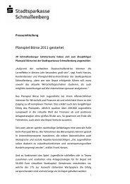 Planspiel Börse 2011 gestartet - Stadtsparkasse Schmallenberg