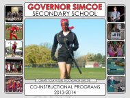 Governor Simcoe Co-Instructional Programs Pamphlet Download