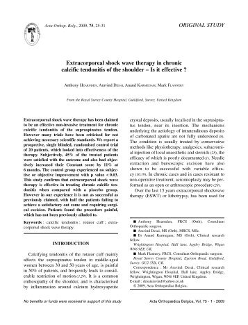 Extracorporeal shock wave therapy in chronic calcific tendonitis of ...