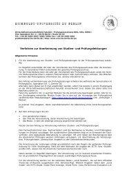 Verfahren zur Anerkennung von Studien- und Prüfungsleistungen