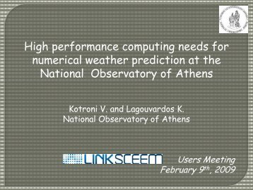 High performance computing needs for numerical ... - LinkSCEEM