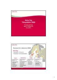 Atria Oyj Tilinpäätös 2009 - Atriagroup.com