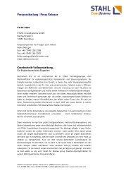 Pressemitteilung | Press Release - STAHL  CraneSystems GmbH