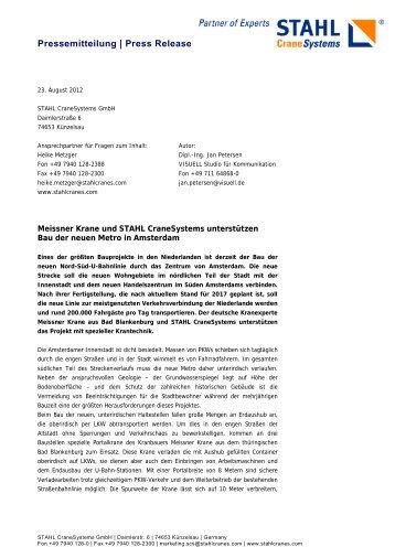 Pressemitteilung Meissner Krane  und STAHL CraneSystems ...