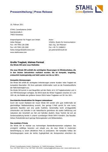 Die Winde SW - STAHL CraneSystems GmbH