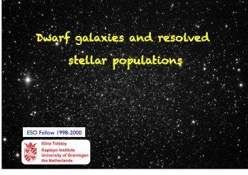Dwarf galaxies and resolved stellar populations