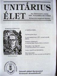 1998. november - december - Unitárius tudás-tár - Magyarországi ...