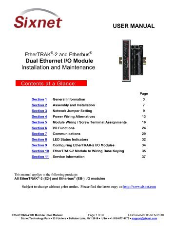 USER MANUAL Dual Ethernet I/O Module Installation and ... - Sixnet