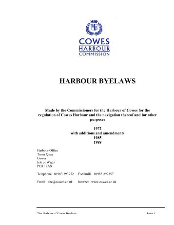 HARBOUR BYELAWS - Cowes Online