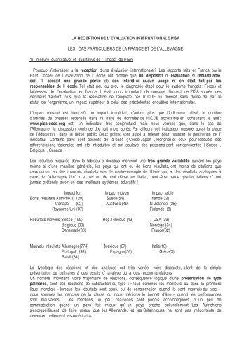 La réception de l'évaluation internationale PISA. le cas ... - Prisme