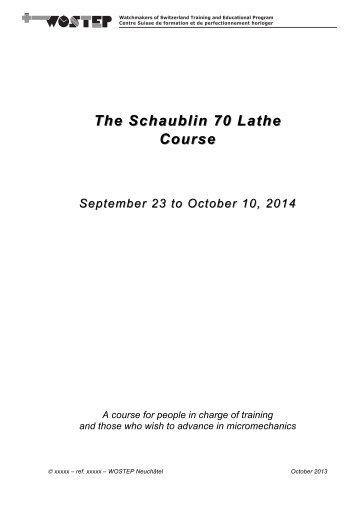 Schaublin 70 Lathe.pdf - WOSTEP