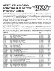 gasket, seal and o-ring display for 84-99 big twin® evolution® motors