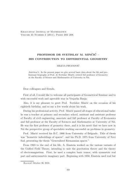 PROFESSOR DR SVETISLAV M. MINˇCI´C – HIS CONTRIBUTION ...