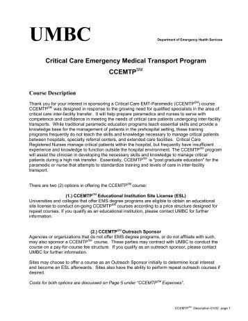 Critical Care Emergency Medical Transport Program CCEMTPSM
