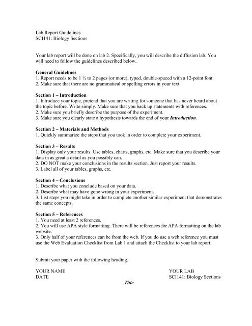Lab Report Guidelines SCI141: Biology Sections Your lab report will ...