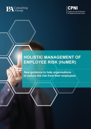 HOLISTIC MANAGEMENT OF EMPLOYEE RISK (HoMER) - CPNI