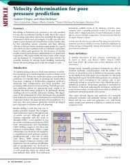 Velocity determination for pore pressure prediction. - Sigmacubed.com
