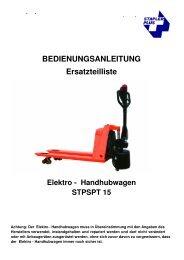 Elektro - Handhubwagen STPSPT 15 - Stapler Plus eG