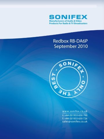 Redbox RB-DA6P September 2010 - Sonifex