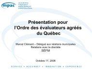 Présentation pour l'Ordre des évaluateurs agréés du Québec