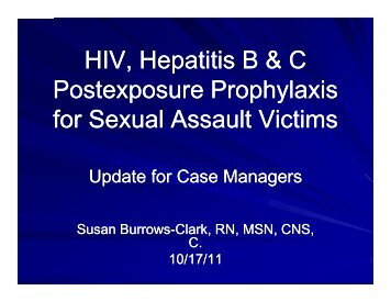HIV Hepatitis B & C HIV, Hepatitis B & C Postexposure ...