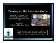 Developing the Lean Workforce - NSRP