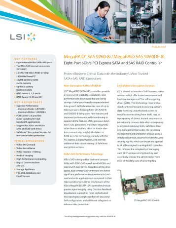 LSI MegaRAID SAS 9260-8i/MegaRAID SAS 9260DE-8i Product Brief