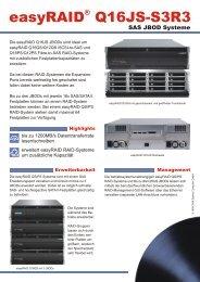easyRAID Q16JS-S3R3 SAS JBOD Systeme Datenblatt