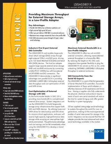 LSI-SAS-3801X Datasheet - starline Computer GmbH