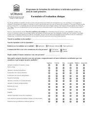 Évaluation clinique - Faculté des sciences de la santé - Université d ...