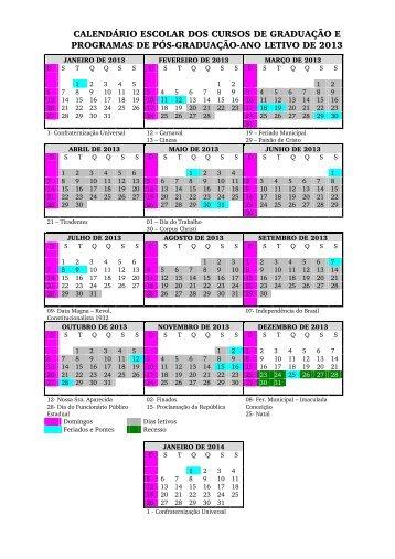 calendário escolar dos cursos de graduação e programas ... - Unesp