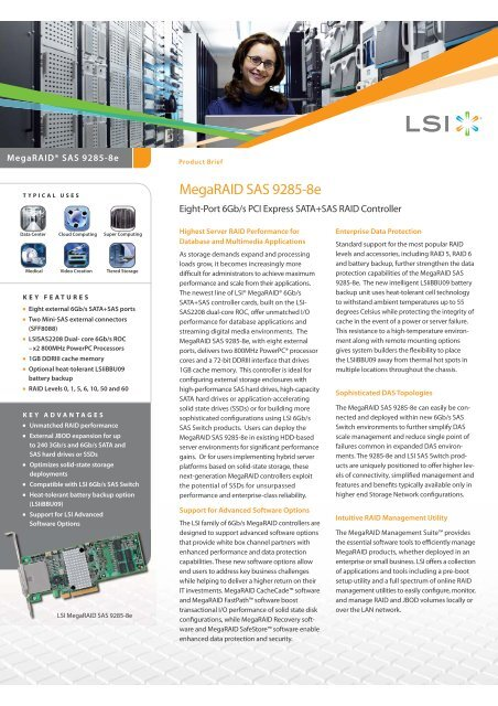 MegaRAID SAS 9285-8e Product Brief - starline Computer GmbH