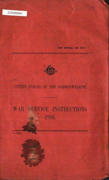 War Service Instructions 1916 - Australian Army