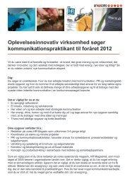 Oplevelsesinnovativ virksomhed søger ... - unisans