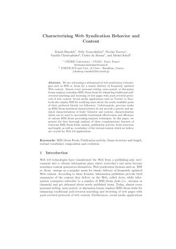 Characterizing Web Syndication Behavior and Content - IA - LIP6