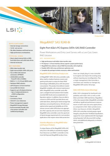 LSI MegaRAID SAS 9240-8i Product Brief