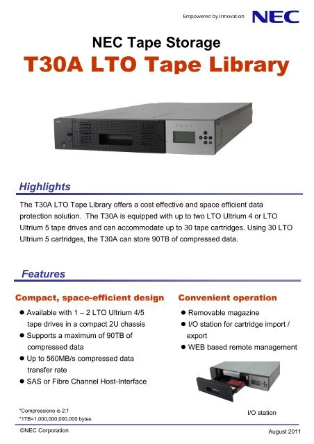 NEC Tape Storage