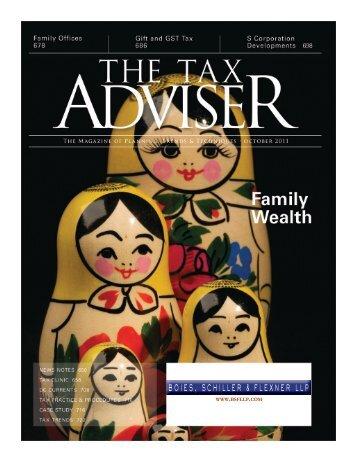 The Tax Adviser Article - Boies, Schiller & Flexner LLP