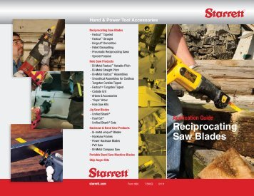 Application Guide Reciprocating Saw  Blades - Starrett