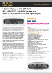 Technical Specifications RDL-BD16/BS16 RAID Subsystem with ...